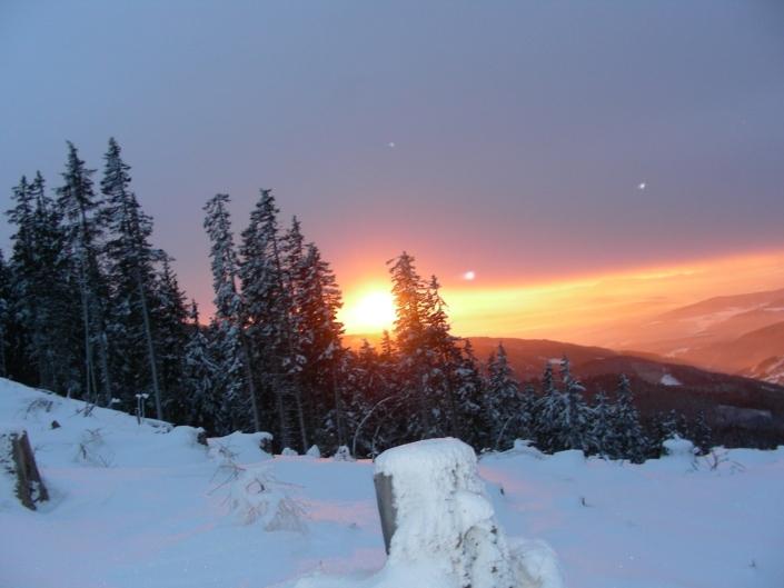 Sonnenuntergang Verschneite Landschaft