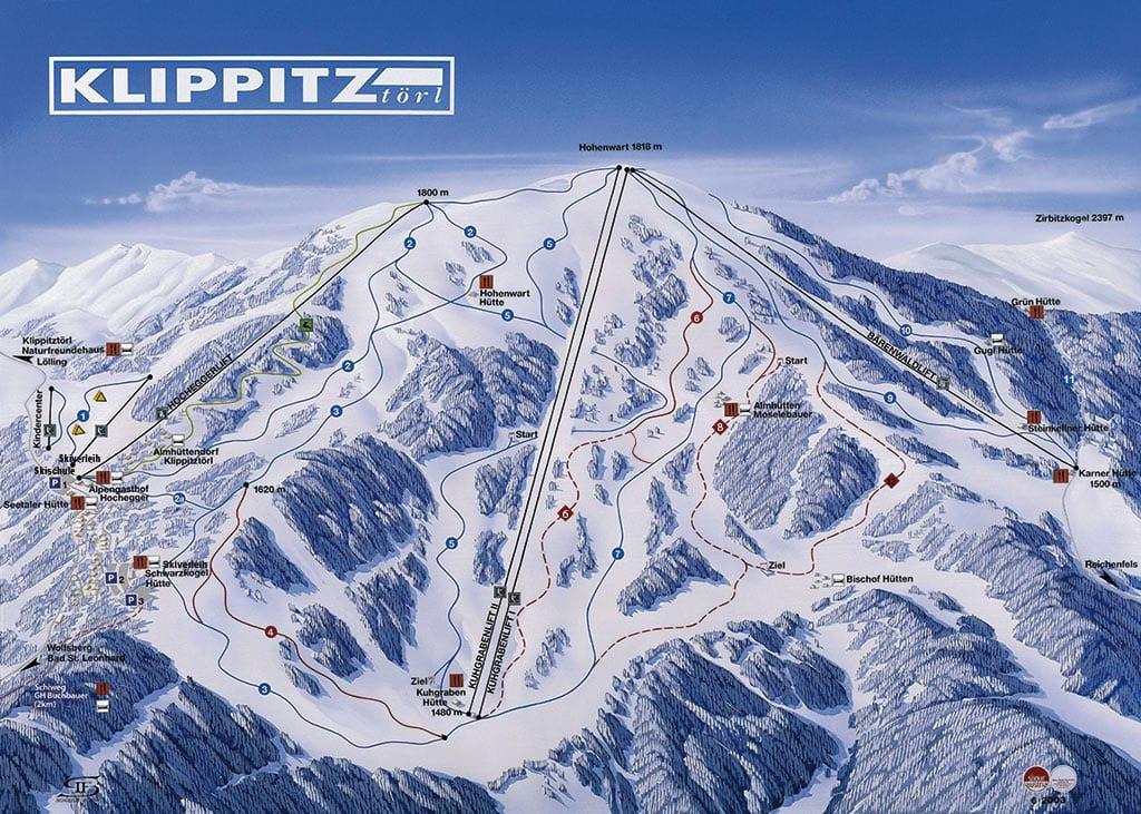 Überblick über das Ski-Gebiet Karte