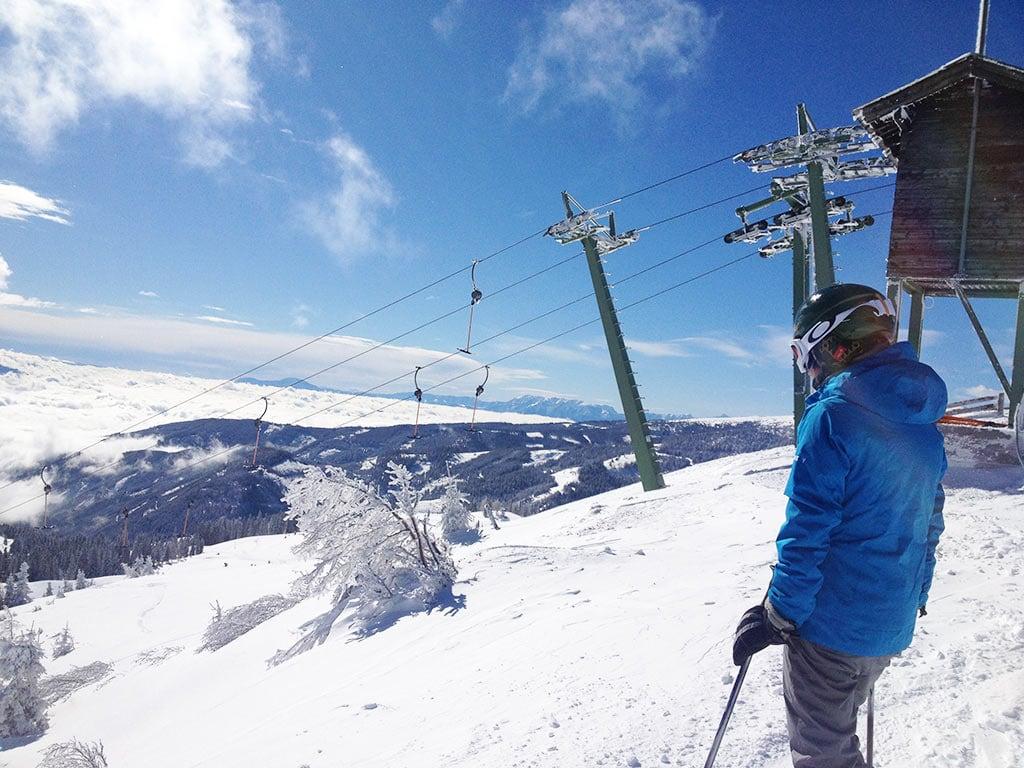 Ausblick am Klippitztörl in Kärnten Winter